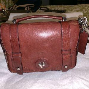 Coach leather and snakeskin shoulder bag